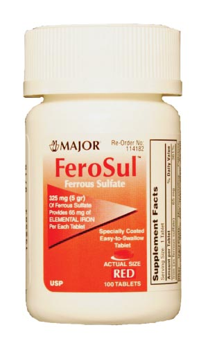 Ferosul, 5gr, Film Coated, Red Tablets, 100s, Compare to Feosol, NDC# 00904-7590-60