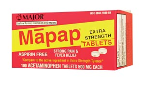Mapap, 500mg, Boxed, 100s, Compare to Tylenol, NDC# 00904-19898-59