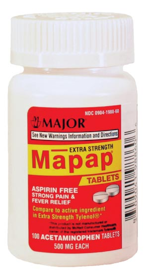 Mapap, 500mg, Unboxed, 100s, Compare to Tylenol, NDC# 00904-1988-60