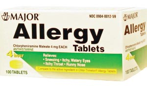 Allergy Tablets, 4mg, 100s, Compare to Chlor-Trimeton Tabs, NDC# 00904-0012-59