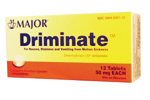 Driminate, 50mg, 12s, Tablets, Compare to Dramamine, NDC# 00904-2051-12