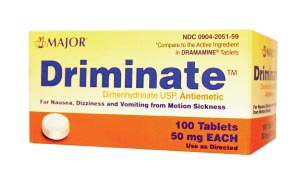 Driminate, 50mg, 100s, Tablets, Compare to Dramamine, NDC# 00904-2051-59