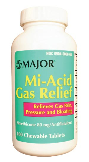 Mi-Acid, 80mg, Gas, Chewable, 100s, Compare to Mylanta Gas Tablets, NDC# 00904-5068-60