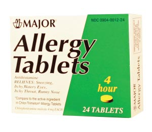 Allergy Tablets, 4mg, 24s, Compare to Chlor-Trimeton Tabs, NDC# 00904-0012-24