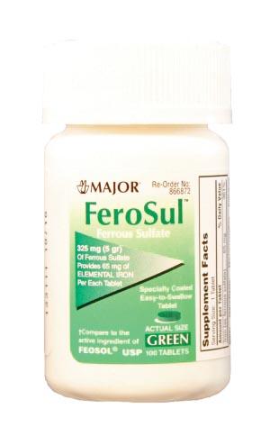 Ferosul, 5gr, Film Coated, Green Tablets, 100s, Compare to Feosol, NDC# 00904-7591-60