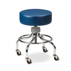 "Stool, Chrome Base, Round Footring, 2"" Rubber Wheels, Ball Bearing Casters, Height Range: 18.5"" - 25.5"""