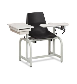 Blood Draw Chair, Flip-Arm, Drawer & Plastic Seat