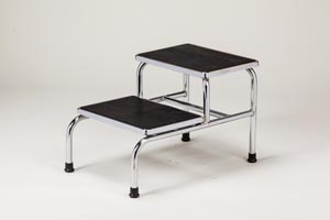 Two Step Bariatric Step Stool, Extra Wide Top, Chrome Plated, Reinforced Base, Rubber Top for Safety, 600 lbs Capacity