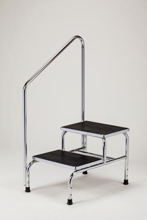 """Two Step Step Stool, Angled Hand Rail (43"""" High at Highest Point), Extra Wide Top, Chrome Plated, Reinforced Base, Rubber Top for Safety, 350lbs Capacity"""