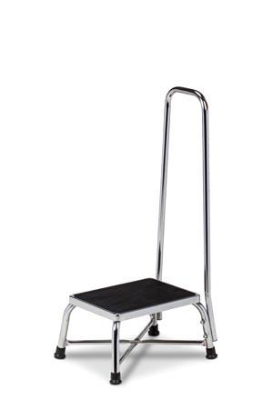 "Bariatric Foot Stool, Handrail, Reinforced, ""X"" Base Construction, 600 lbs Capacity"