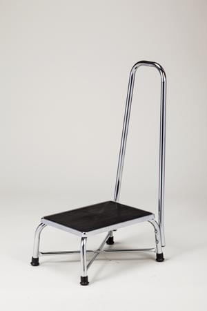 """Bariatric Step Stool Extra Wide, 1"""" Dia Handrail, Reinforced """"X"""" Base Construction, 600 lbs Capacity"""