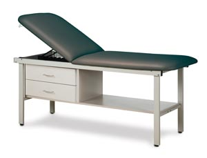 "Straight Line Treatment Table, All Steel Frame Laminated Shelf, 2 Drawers, Steel Sides  & Adjustable Backrest, Paper Dispenser Included, Length 72"" Height 31"", Width 30"""