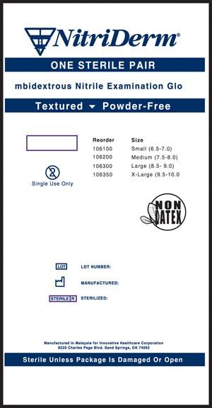 INNOVATIVE NITRIDERM STERILE POWDER-FREE NITRILE EXAM GLOVES: preorder IHC 106200 cs                                      $70.62 Stocked