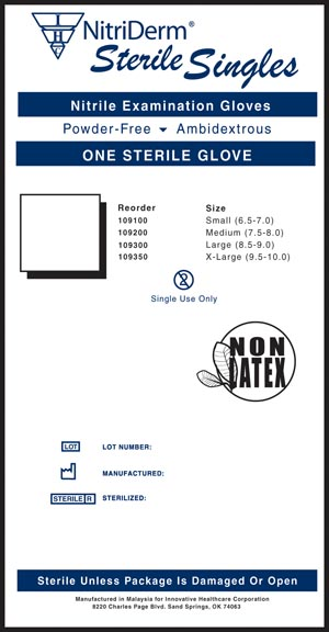 INNOVATIVE NITRIDERM STERILE POWDER-FREE NITRILE EXAM GLOVES: preorder IHC 109100 cs                                      $94.38 Stocked