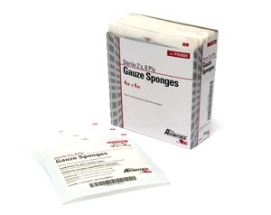 "Gauze Sponge, 2s, 4"" x 4"", 8-Ply, Sterile, 25/tray, 24 tray/cs"