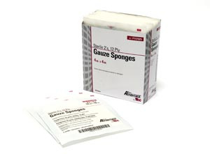 "Gauze Sponge, 2s, 4"" x 4"", 12-Ply, Sterile, 25/tray, 24 tray/cs"
