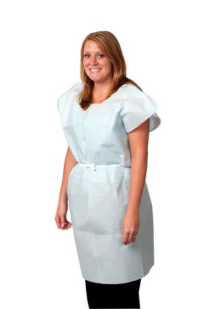 """Exam Gown, Tissue/ Poly/ Tissue, 30"""" x 42"""", Blue, Traditional Front/ Back Opening, 50/cs"""