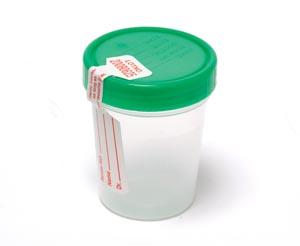 Specimen Container, Screw-On Lid & tamper evident label, 4 oz, Sterile, 100/cs