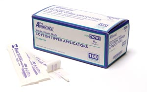 "Cotton-Tipped Applicator, 6"" x 1/10"", Plastic Shaft, Sterile, 1/pk, 100 pk/bx, 10 bx/cs"