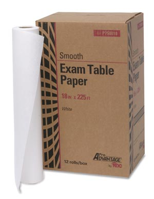 "Exam Table Paper, 18"" x 225 ft, White, Smooth, 12/cs"