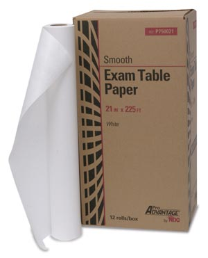 "Exam Table Paper, 21"" x 225 ft, White, Smooth, 12/cs"