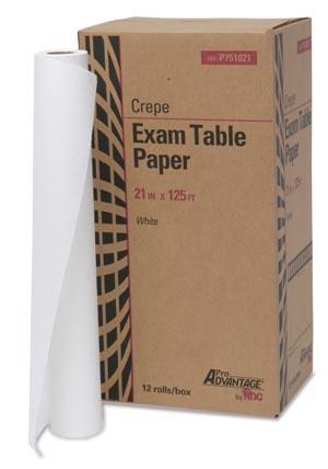 "Exam Table Paper, 21"" x 125 ft, White, Crepe, 12/cs"