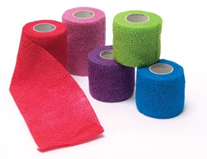 "Cohesive Bandage, Assorted Colors (6-Blue, 6-Purple, 6-Red, 6-Green, 6-Pink), 1"" x 5 yds, 30/bx"