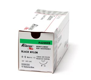 "Black Nylon Monofilament Suture, Size 4-0, 18"", FS-2 Needle, 3/8 Circle Reverse Cut 19mm, 12/bx"