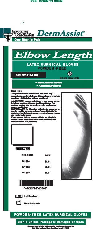 INNOVATIVE DERMASSIST ELBOW LENGTH POWDER-FREE LATEX SURGICAL GLOVES: preorder IHC 141650 cs                                      $186.12 Stocked