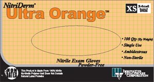 INNOVATIVE NITRIDERM ULTRA ORANGE POWDER-FREE EXAM GLOVES: preorder IHC 199350 cs                                            $70.36 Stocked