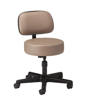 Stool, Screw Adjustable, Black Nylon Base, Backrest