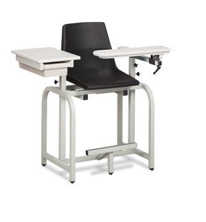 Extra Tall Blood Draw Chair, Flip-Arm  & Drawer, Plastic Seat