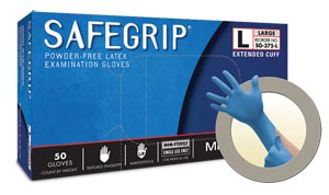 ANSELL MICROFLEX SAFEGRIP POWDER-FREE EXTENDED CUFF LATEX EXAM GLOVES: preorder MFC SG-375-XL cs                                      $147.71 Stocked