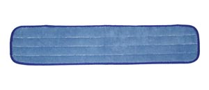 "Wet Mop Pad, Velcro, Blue Microfiber with Blue Binding, 5"" x 18"""