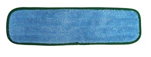 "Wet Mop Pad, Velcro, Blue Microfiber with Green Binding, 5"" x 18"""