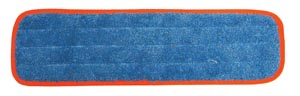 "Wet Mop Pad, Velcro, Blue Microfiber with Orange Binding, 5"" x 18"""