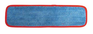 "Wet Mop Pad, Velcro, Blue Microfiber with Red Binding, 5"" x 18"""