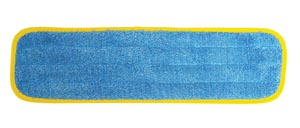 "Wet Mop Pad, Velcro, Blue Microfiber with Yellow Binding, 5"" x 18"""