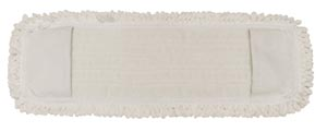 "Mop Pad, Ultra Looped-End Microfiber, Pocket Style, White, 5"" x 18"","