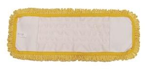 "Mop Pad, Ultra Looped-End Microfiber, Pocket Style, Yellow, 5"" x 18"","