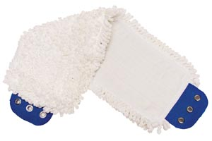 "Mop Pad, Ultra Looped-End Microfiber, Tab Style, White, 5"" x 18"","