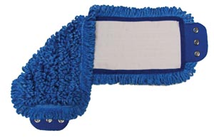 "Mop Pad, Ultra Looped-End Microfiber, Tab Style, Blue, 5"" x 18"","