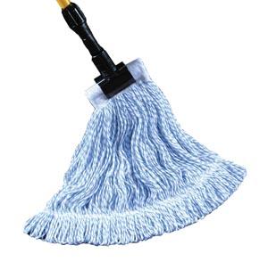 """Waxer Finish Mop,4-Ply,  Blue and White, 1 1/4"""" Headband, Single Tailband, Medium"""