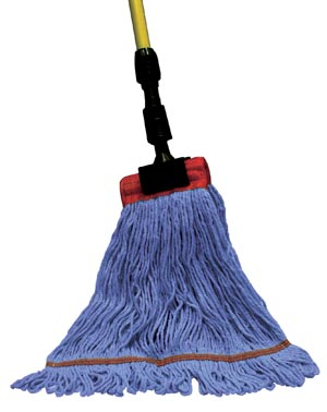 "Wet Mop, 4-Ply,  Synthetic Blend, Blue,  1 1/4"" Headband, Single Tailband, Medium"