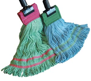 """Wet Mop, 6-Ply, Synthetic, Looped End, Blue, 9"""" Headband, Double Tailband, Medium"""