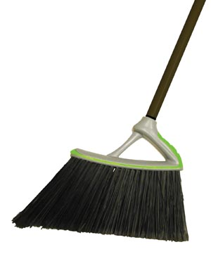 Broom, Synthetic Fibers, Plastic Removable Handle, Black