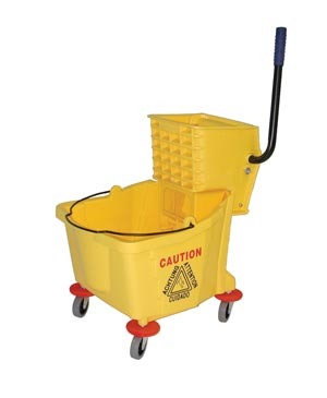 Bucket and Wringer Combo, Side Press, 26-32 Qt, Yellow,