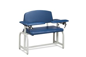 Extra Wide Blood Draw Chair, 2 Flip-Arms, Upholstered, 400 lbs Capacity
