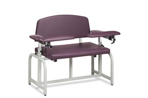 Blood Draw Chair, 2 Flip-Arms, Upholstered, 600 lbs Capacity