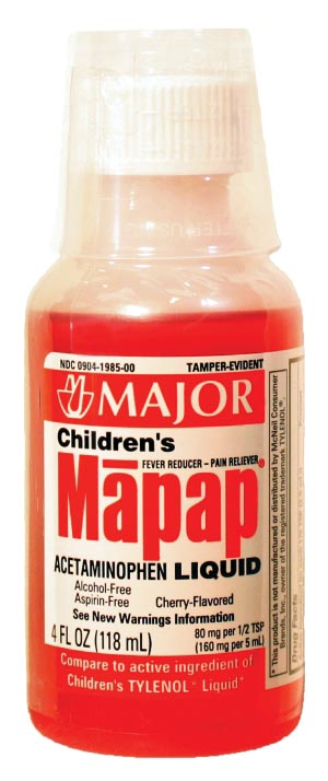 Major ACETAMINOPHEN CHERRY160MG/5ML SOL 118 ML  Case of 24 Each 701420 case of 2